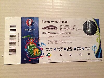Used Ticket UEFA EURO 2016 #51 Final France Portugal Frankreich With Names