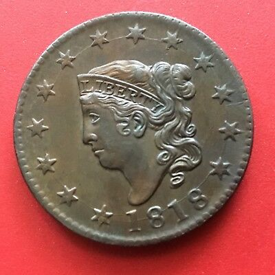 1818 AU Coronet Head Large Cent - TOTALLY  COOL  DIE CRACKS