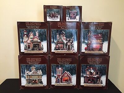 Saturday Evening Post NORMAN ROCKWELL Porcelain House Christmas Village Lot
