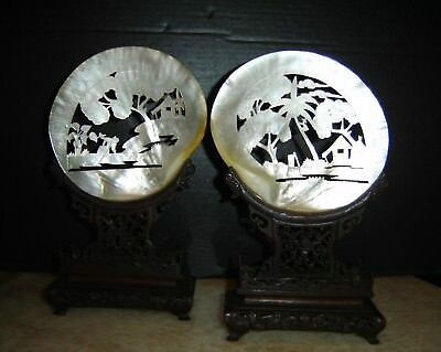 Antique Chinese Qing Pair of Hand Carved Large Sea Shells On Exquisite Stands.