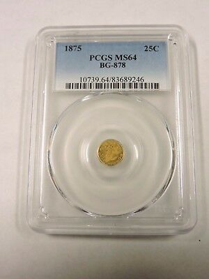 1875 Fractional California Gold 1/4, PCGS MS64, BG-878, TOMAHAWK COIN (VDEX)