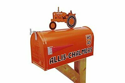 Allis Chalmers WD-45 large steel mailbox with tractor on top