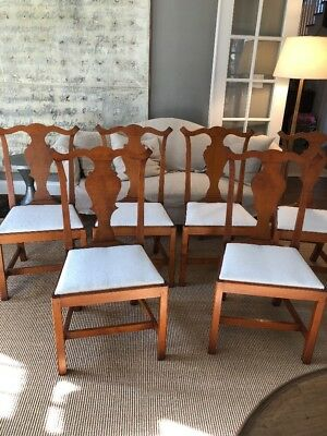 Set/six Eldred Wheeler Tiger Maple Chippendale Dining Chairs, Solid Splat