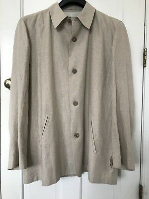 Ermenegildo Zegna Mens Linen Coat XXL/56 Made In Italy Beige Jacket New $865