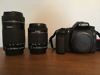 Canon EOS 70D 20.2MP Digital SLR Camera - Black (w/EFS55-250mm and EFS18-55mm)