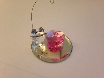 Crystal Mouse (With Movable Tail) And Pink Heart On Mirror Base