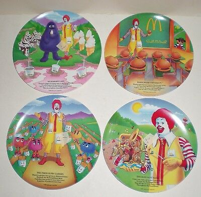"Set Of 4 New Vintage Mcdonald's Collector Melamine Plates - 9.5"" - 1989 - Nos"