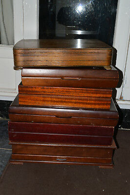 lot of 6 LARGE VINTAGE OAK WOODEN CUTLERY / CANTEEN BOX IDEAL TO CONVERT