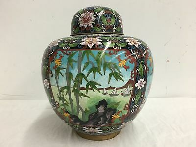 "Antique Chinese Enamel Bronze Cloisonne Ginger Jar Lid 10.5"" Tall"