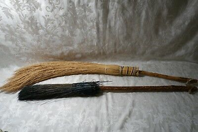 Vintage Whist  Golden Straw & Green Straw Wood Handle witch style broom