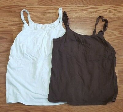 Lot of Two Nursing Tank Tops Size Large Brown & Ivory
