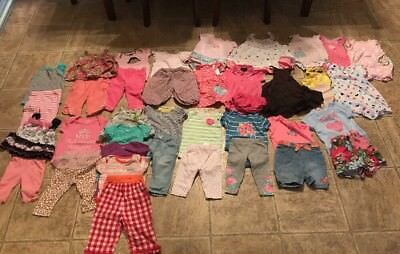 Baby Girl 3-6 Month Spring Clothes Huge Lot Outfits Dresses rompers 40 Pieces!
