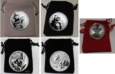 Silver Storm Thooper, Darth Vader, Black Panther, Thor & Superman BU Coin Lot