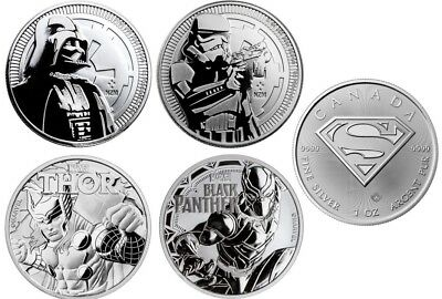 Silver Darth Vader, Storm Thooper, Black Panther, Thor & Superman BU Coin Lot
