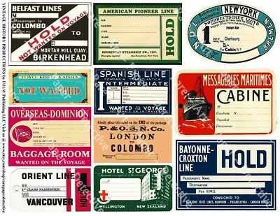 Steamship Travel Stickers, Travel Trunk, Baggage Labels, Transportation 2 Sheets