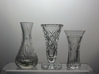 Beautiful Design Cut Glass Crystal Small Vases Set Of 3