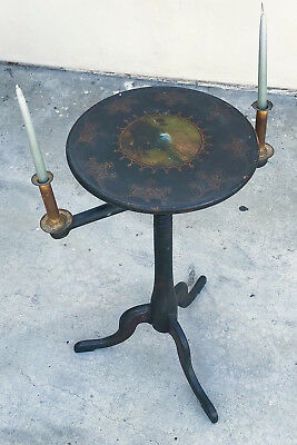 18th Centuy American Wooden Circular Candle Stand, Adjustable, Iron Sockets rare