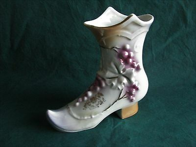 Large Vintage Porcelain Shoe Boot with Grapes and Ivy Germany  NR