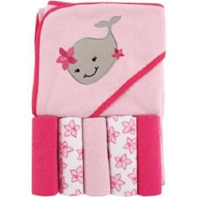 5 Washcloths & Hooded Towel Gift Set Girls Baby Shower Whale Nautical Pink L28