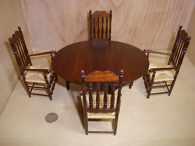 Gerald Crawford Dollhouse Dining Set Gateleg Table Bannister Back Side/Armchairs