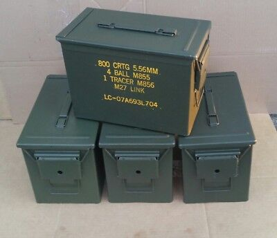 ( 4 Pack ) Fat 50 Cal Saw Box Ammo Cans Great Condition Free Shipping