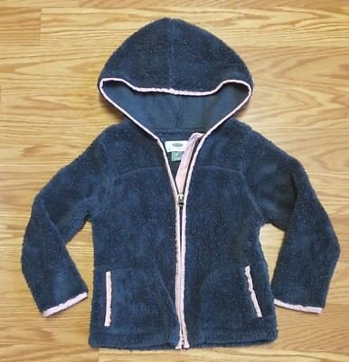 Girls Gray & Pink Thick Fleece Old Navy Zip Up Hooded Sweatshirt size 5t