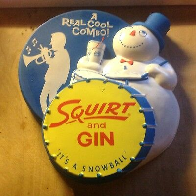 """Vintage 3-D Squirt & Gin Bar Sign 11"""" X 10"""" - Plastic"""