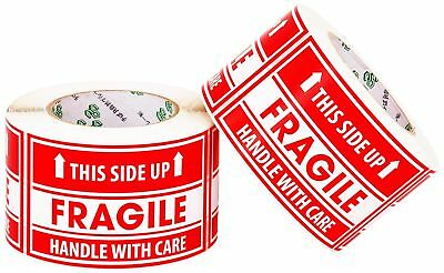 """Handle with Care Fragile on plastic or cardboard Labels Stickers 1000 Large 3x5"""""""