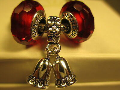 3 Pandora Silver 925 Ale Fascinating Red Christmas Bell Dangle Glass Beads Charm