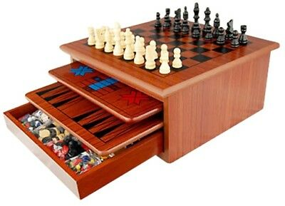 10 in 1 Wooden Chess Board Games Slide Out Best Checkers House Unit Set Family