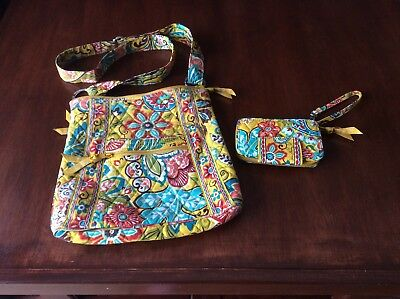 Vera Bradley Lot Of 2 Provencal Pattern Crossbody Hipster And Wristlet
