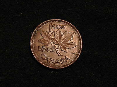 HJ43 Error coin Canada 1 cent George VI 1946 die chip under the middle leaf