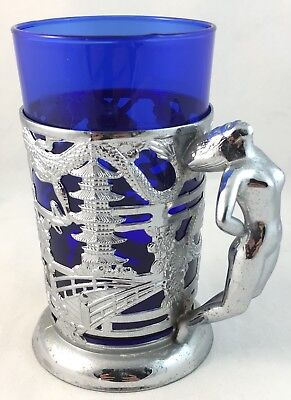 Art Deco Chrome & Cobalt Blue Glass Nude Diana Lady & Oriental Dragon Cup Mug