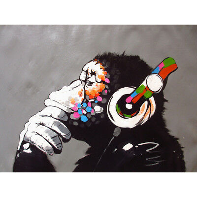 "NEW Canvas 24""x36"" in. Banksy Street Art Print DJ Monkey chimp Painting Picture"
