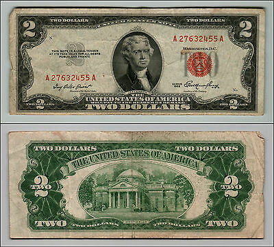 1953 $2 Dollar Bill Old Us Note Legal Tender Paper Money Currency Red Seal Z255