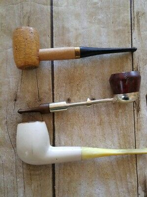 Vintage Tobacco Pipes LOT of 3 Buescher's World Famous Smoking Prop Play VTG