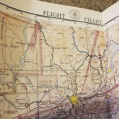 Vintage 1952 Great Falls to Seattle Aeronautical Air Force Flight Chart