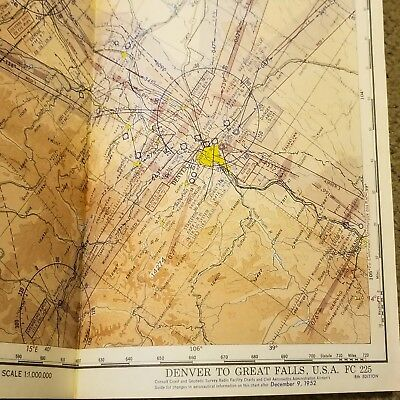 Vintage 1952 Denver to Great Falls Aeronautical Air Force Flight Chart