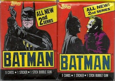 Batman Movies Series 2 - Wax Pack Trading Cards by Topps 1989 - Two Packs