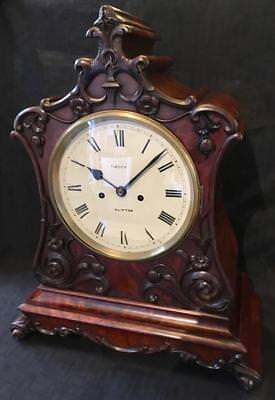 Antique clock twin fusee flame mahogany bracket Green Clifton