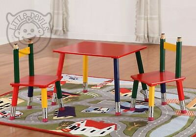 PENCIL TABLE & 2 CHAIRS for Kids/Children - Desk/Stool/Seat/Playroom Furniture