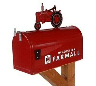 Farmall McCormick Model M Rural Mailbox with Topper Red