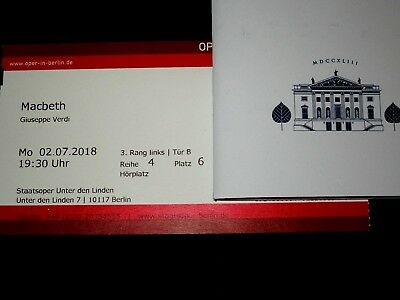 Macbeth Staatsoper Berlin 2.7.2018, Netrebko, Domingo, Barenboim, 1 Ticket
