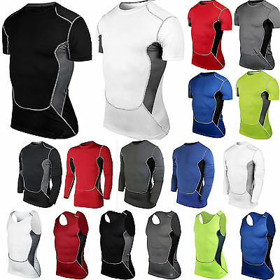 Mens Sports Compression T-Shirt Vest Tank Tops Fitness Workout Base Layer Shirts