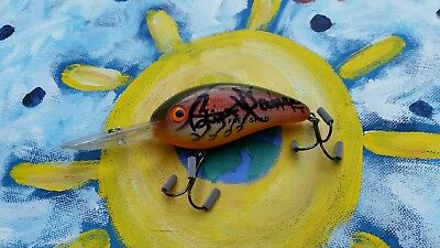 ☆ Bill Dance Fishing Lure Bait Bomber Shad Signed Autographed Rattling Crankbait