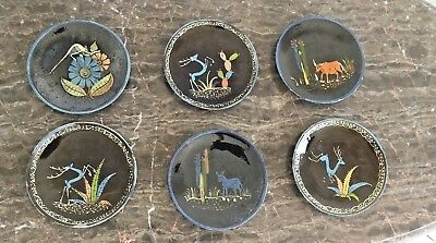 """6 Six Vintage Mexican Tlaquepaque Black/ Brown Pottery Plates Hand painted 6.5"""""""