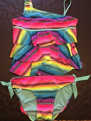 Justice Girls One Shoulder Baha Tiered Tankini Swimsuit, Size 16 Plus, NWT
