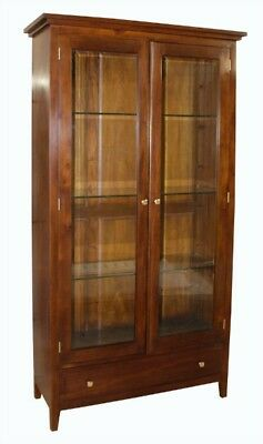 New Glazed Solid Mahogany 2 Door 2 Drawer Display Cabinet H190 x W104 x D41 cm