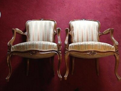 A Pair Of Fauteuils Vintage French Carved Oak Armchairs
