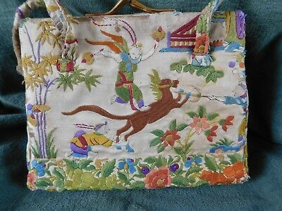 Antique  /vintage Chinese Finely Embroidered Purse / Handbag, People, Animals